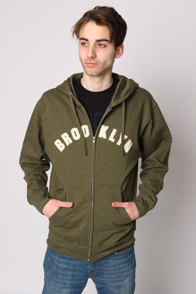 Man in ARMY heather applique zip up sweatshirt