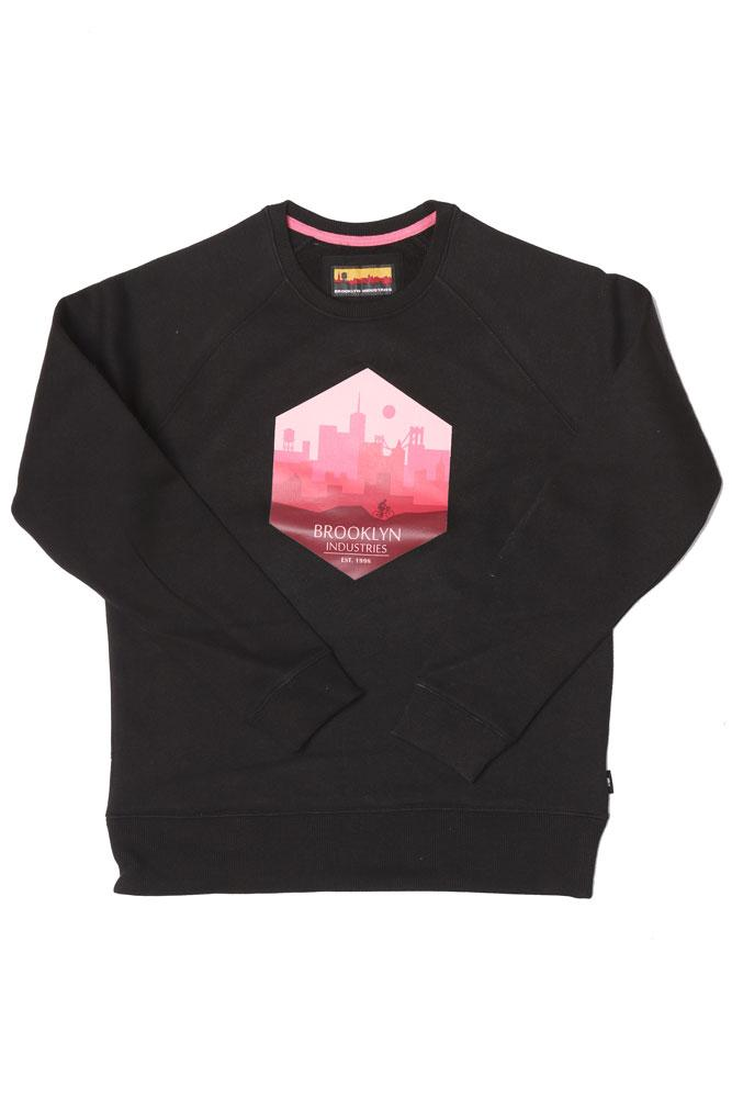 flat lay black crew neck women's sweatshirt with city ride graphic in pink