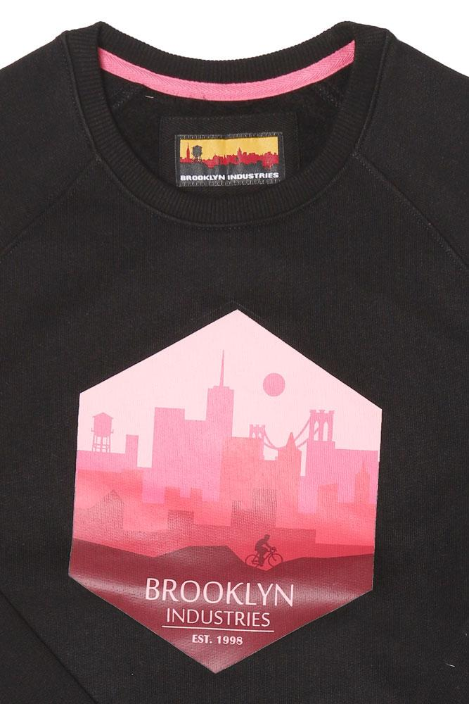 detail of the city ride sweatshirt graphic, pinks on black