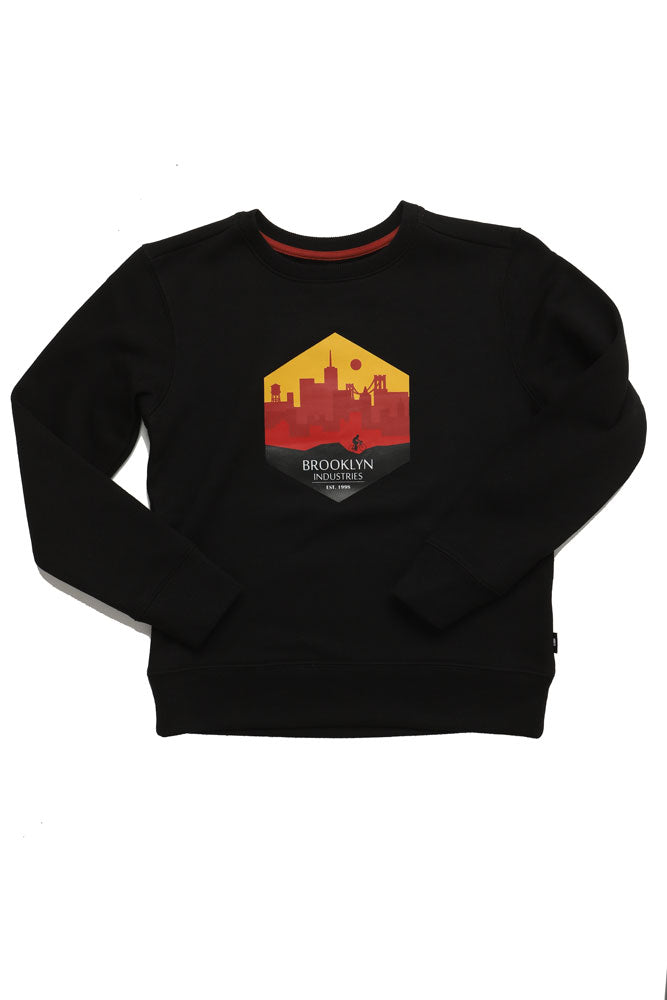 CITY RIDE GRAPHIC ON YOUTH SIZED BLACK SWEATSHIRT
