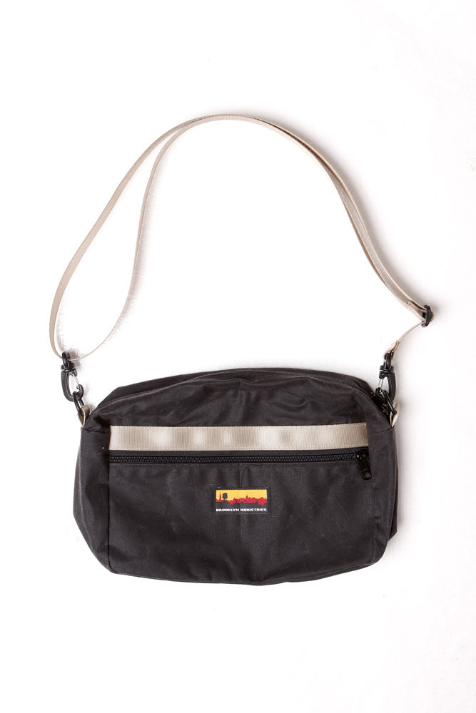 Coal cross body BFF waist pack. with khaki webbing detail, and strap   Made in the USA   Made in NY