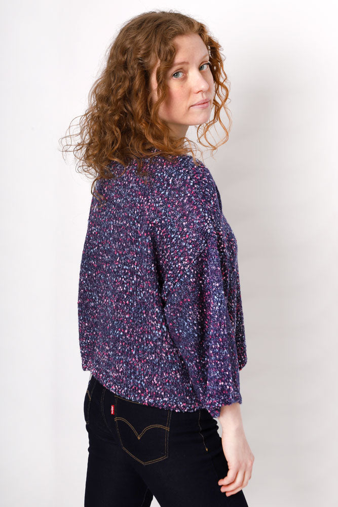 BACK VIEW NAVY CONFETTI COLORED WIDE SLEEVE SWEATER