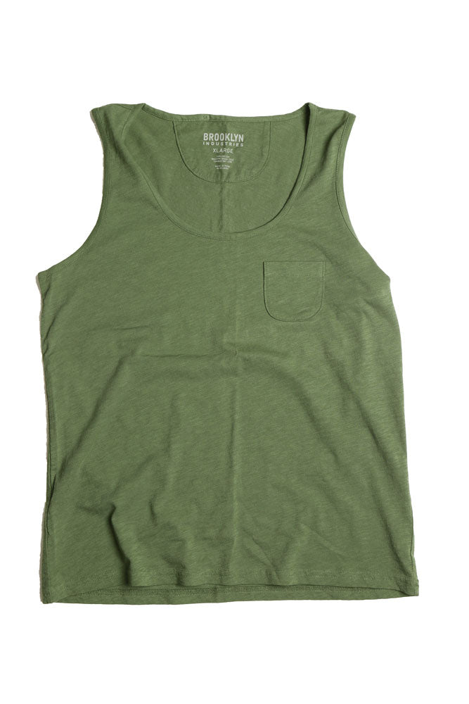 flat lay  green women's knit tank top