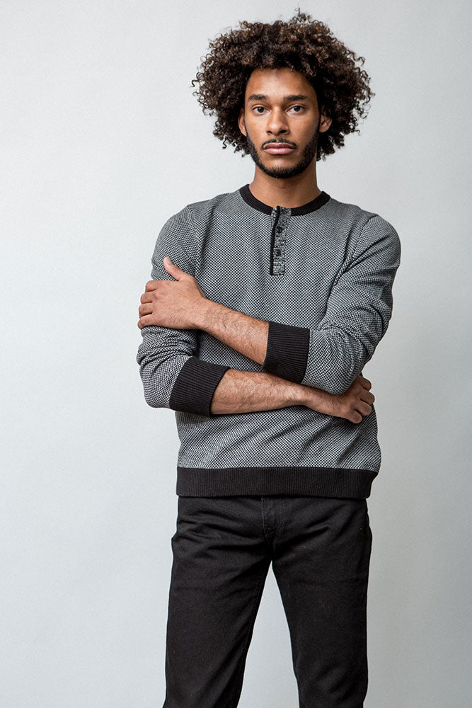 CYPHER HENLEY SWEATER M - BROOKLYN INDUSTRIES