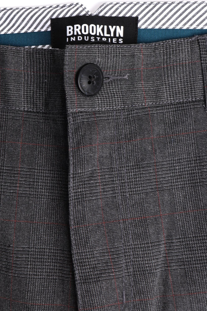 detail image of fly and interior stripe detail on the charcoal dillon sevilla mens dress pant .