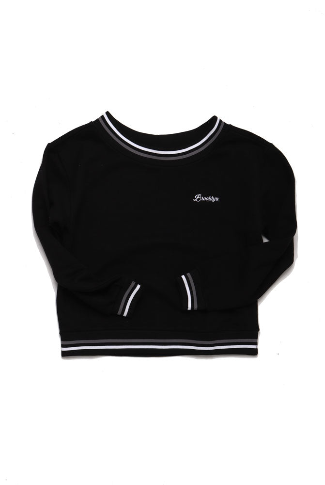 FLAT LAY OF BLACK BROOKLYN EMBROIDERED SWEATSHIRT WITH BANDED COLLAR, WRISTS AND WAIST.