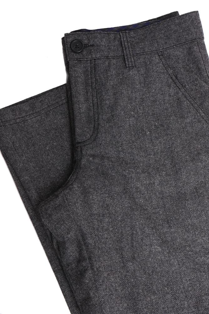 flat lay folded dark gray wool pant