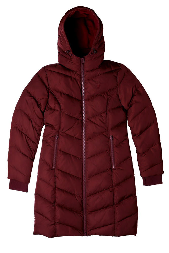 flat lay of fjord coat in burgundy with hood up
