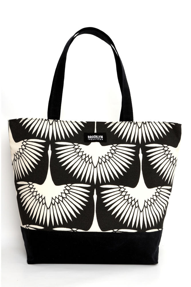 Large cotton canvas tote with waxed canvas handles and bottom.  black and white graphic bird pattern with black wax details,
