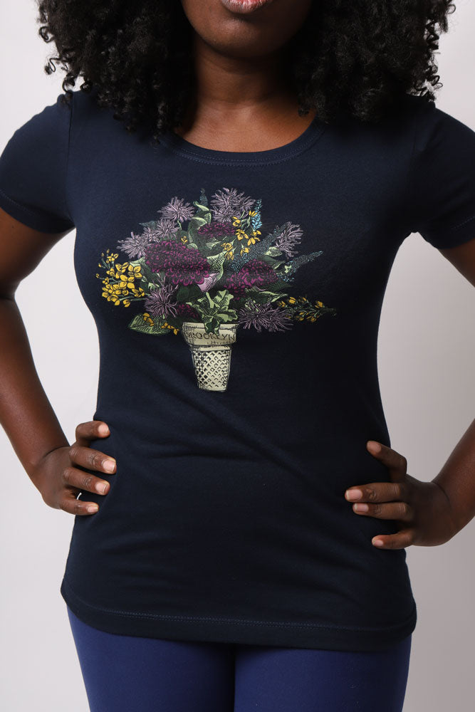 DETAIL BLUE SHIRT WITH A GRAPHIC OF AN ICE CREAM CONE WITH FLOWERING GROWING OUT OF IT