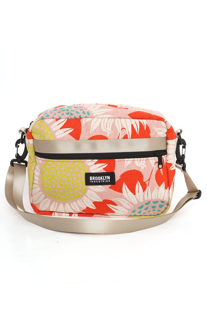 FRONT VIEW SMALL CROSS BODY BAG IN SUNFLOWER COTTON CANVAS