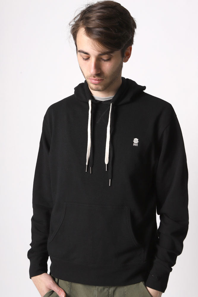 MAN IN HOODED FRENCH TERRY PULLOVER WITH WATER TOWER EMBROIDERY,