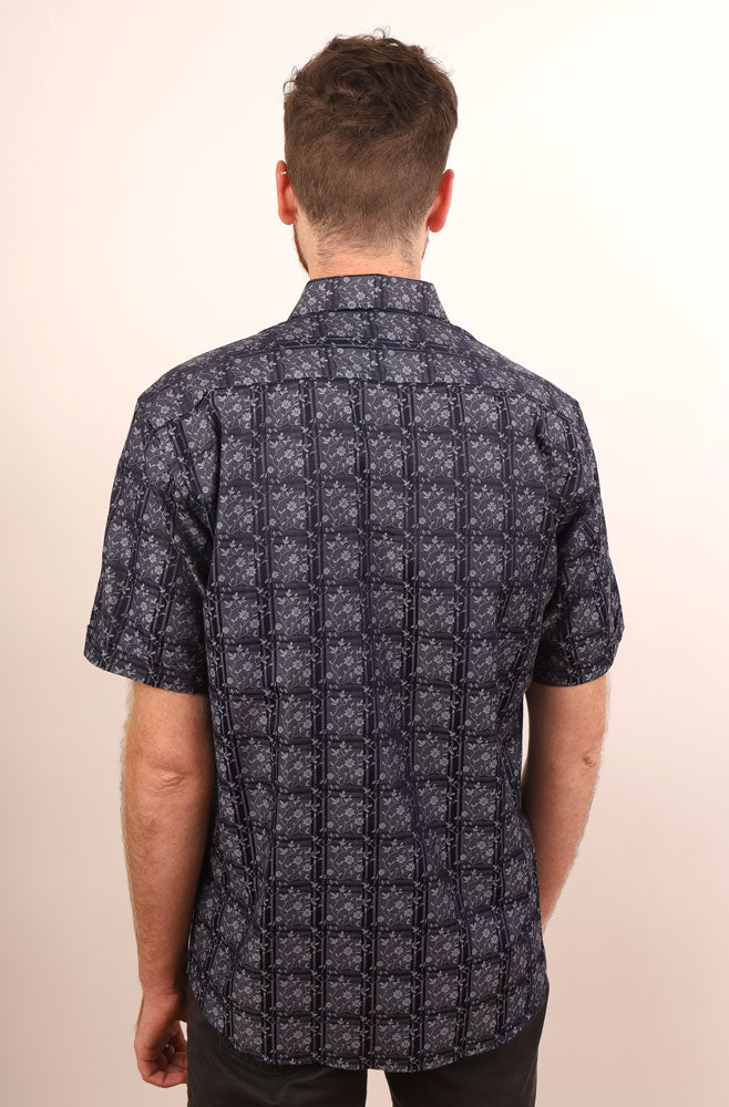 BACK VIEW OF NAVY GRADO SHIRT ON MALE