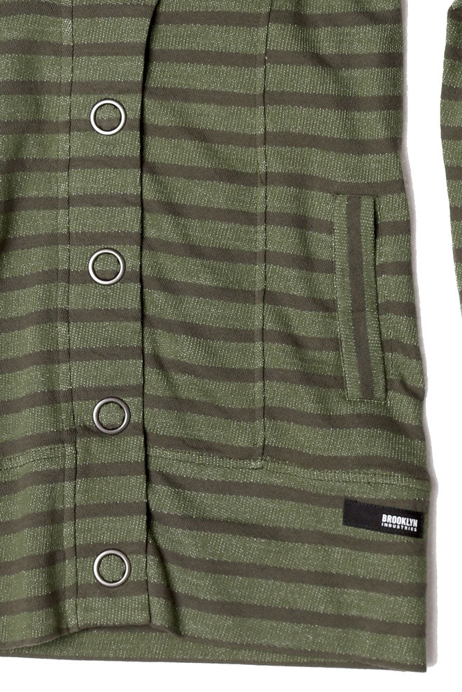POCKET DETAIL OF STRIPED WOMENS BUTTON UP SWEATSHIRT IN CYPRESS