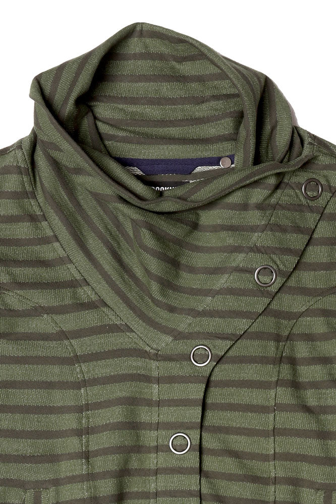 NECK DETAIL OF STRIPED WOMENS BUTTON UP SWEATSHIRT IN CYPRESS