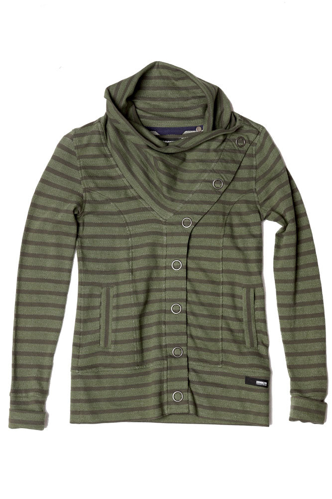 STRIPED WOMENS BUTTON UP SWEATSHIRT IN CYPRESS