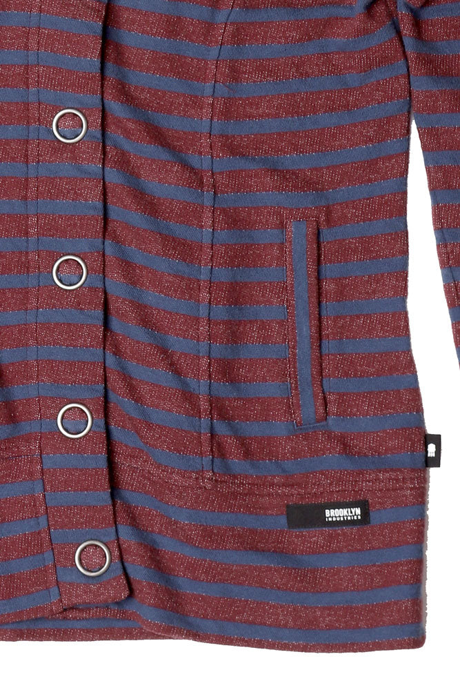 DETAIL OF FRONT POCKET ON STRIPED WOMEN'S BUTTON UP SWEATSHIRT IN PORT ROYAL