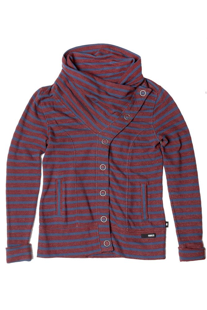 STRIPED WOMEN'S BUTTON UP SWEATSHIRT IN PORT ROYAL