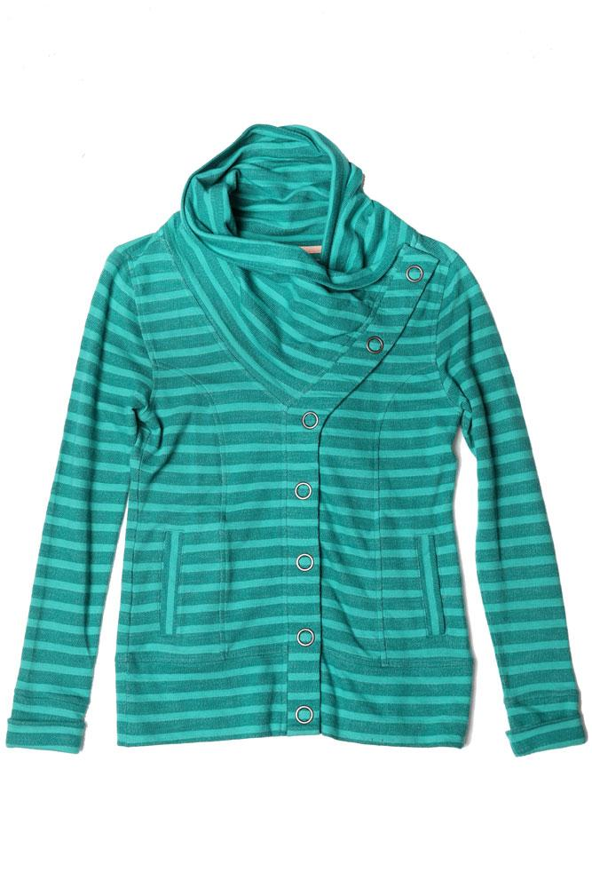 STRIPED WOMEN'S BUTTON UP SWEATSHIRT IN SHADY GLAD
