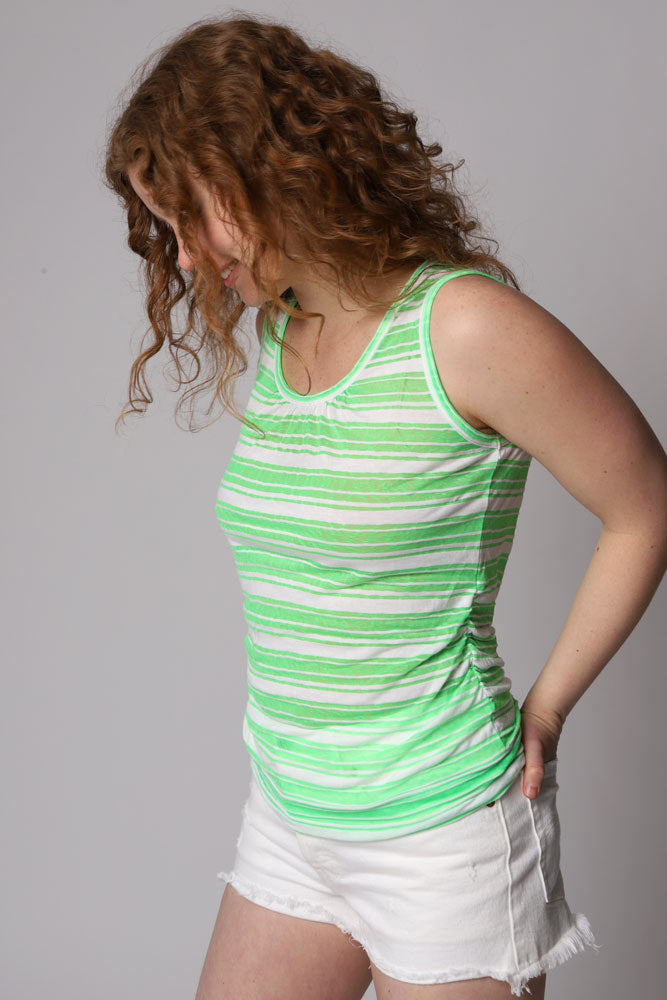 Very light weight, sheer tank top in a white and green stripe.