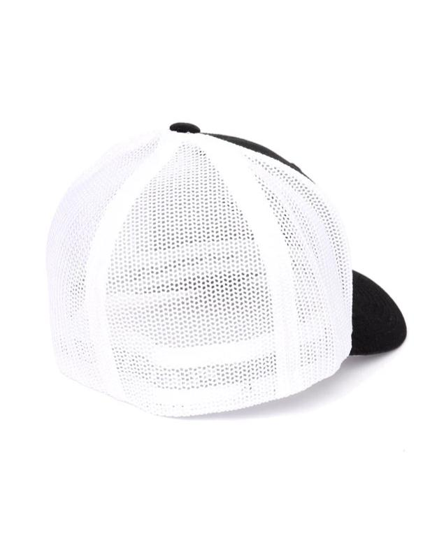 back of black hat with white mesh