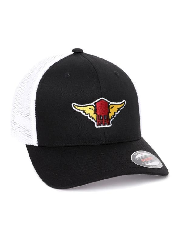 black trucker hat with white mesh, red water tower with yellow wings patch on front center