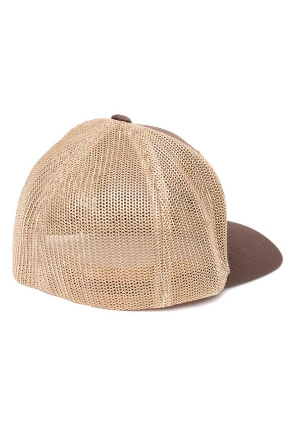 back of mesh fitted hat with khaki mesh