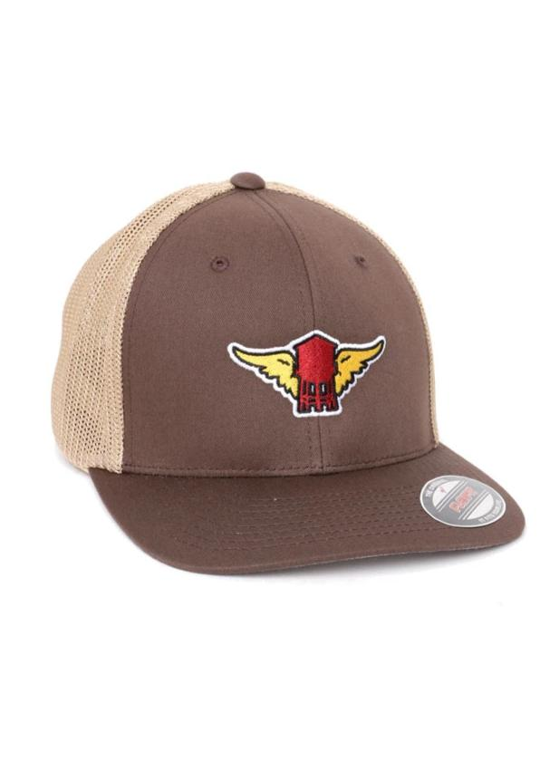 brown flat brim  trucker hat with khaki mesh with water tower patch with wings