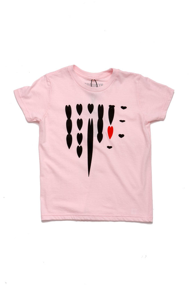 hearts drip on light pink youth t-shirt