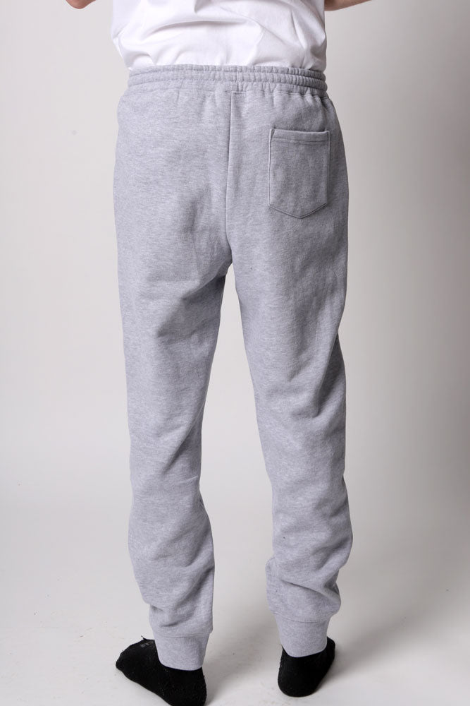 heather grey Water tower Embroidery sweat pant in mid weight fabric
