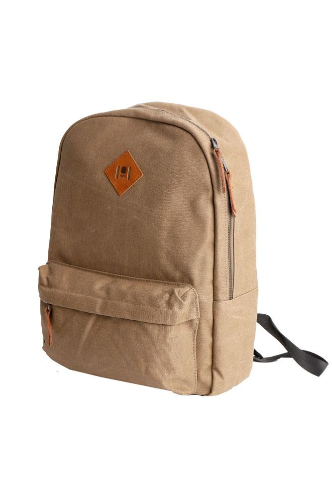 SIDE VIEW OF BROWN CANVAS BACK PACK