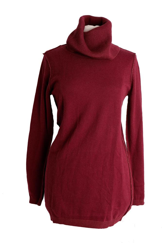 Burgundy colored, funnel neck cotton and silk women's sweater on a form.