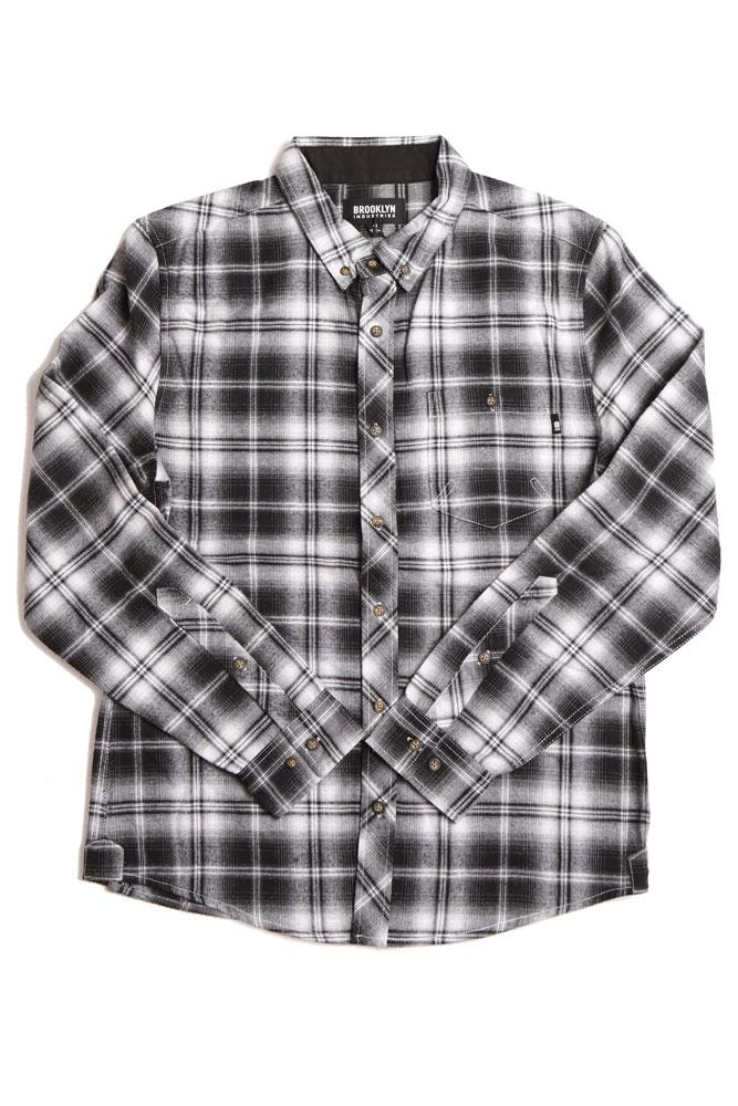 flat lay Long sleeve black and white plaid 100% cotton men's long sleeve woven shirt