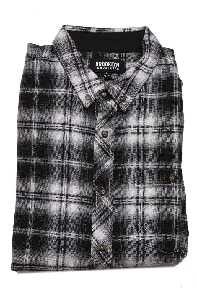 folded Long sleeve black and white plaid 100% cotton men's long sleeve woven shirt