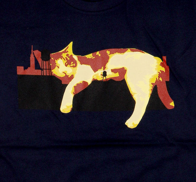 RED AND YELLOW LAZY CAT LOGO ON BLUE SHIRT