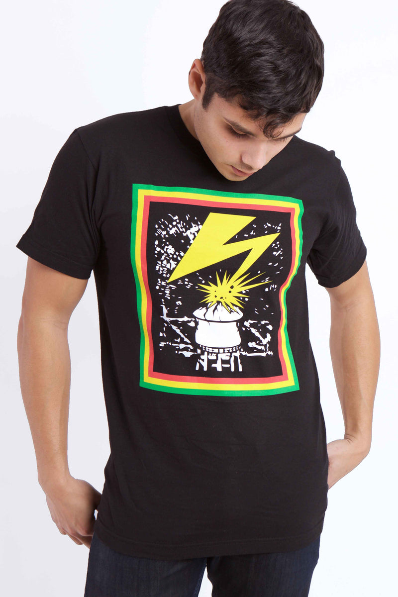 Lightening Graphic T-shirt Model Looking Down