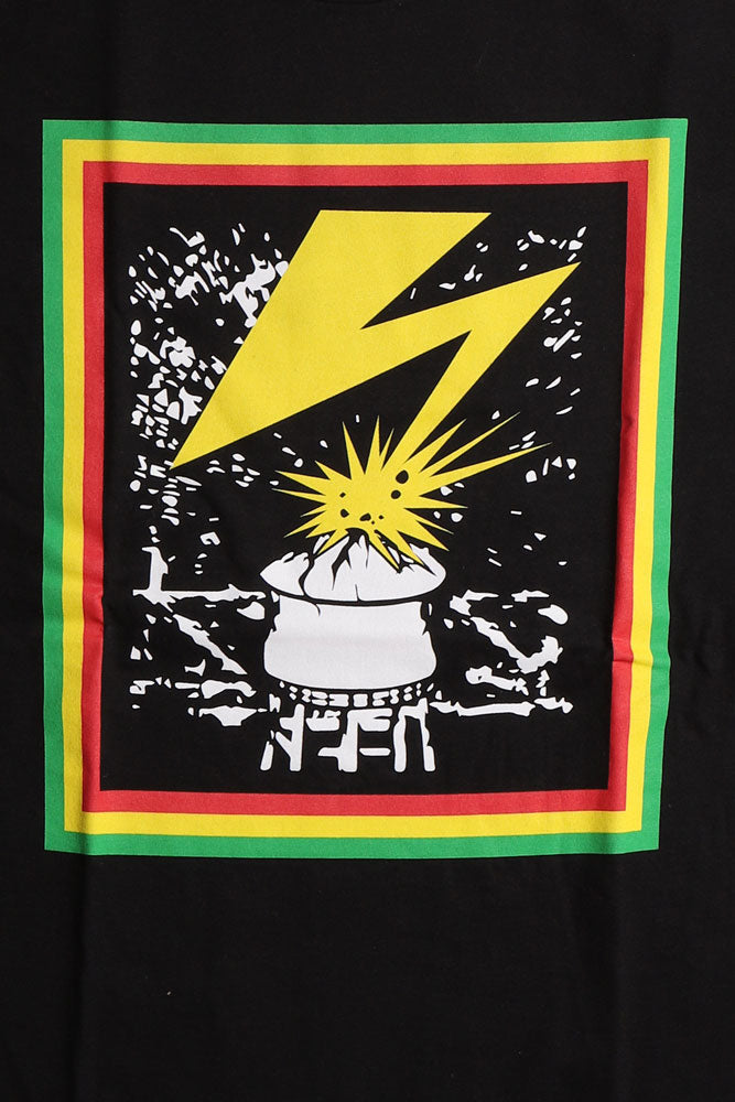 DETAIL OF FLAT LAY BLACK T WITH LIGHTENING BOLT COMING OUT OF WATER TOWER