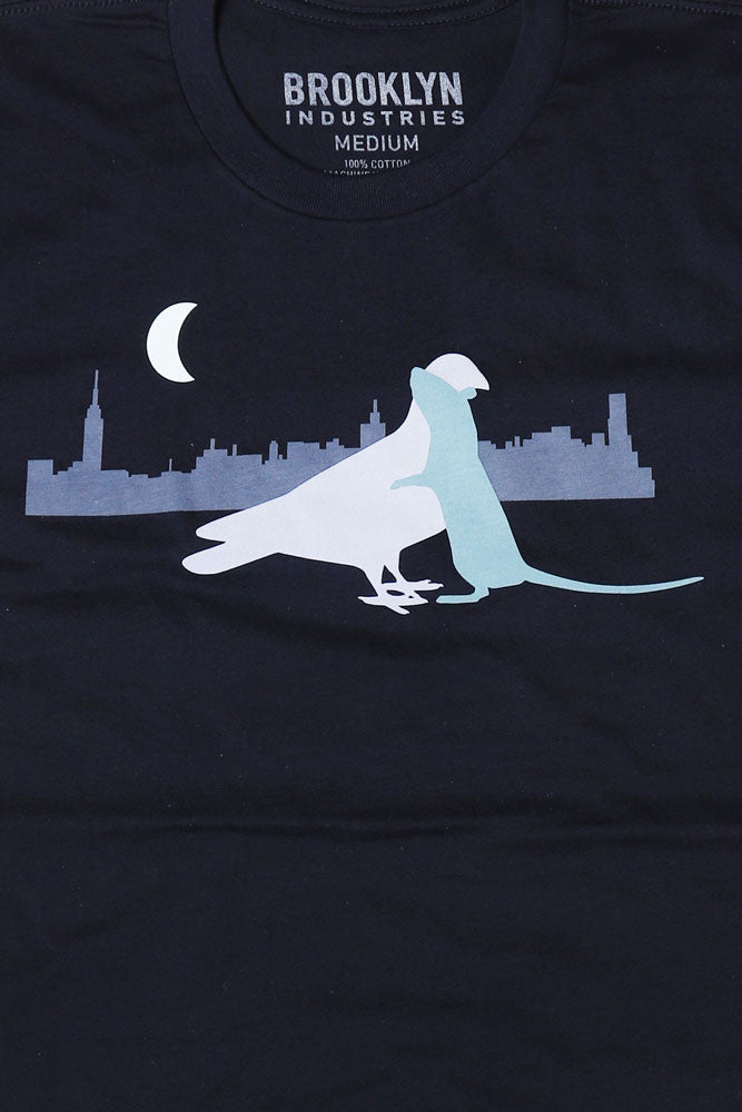 detail of pigeon and rat embracing on love vectors t-shirt.
