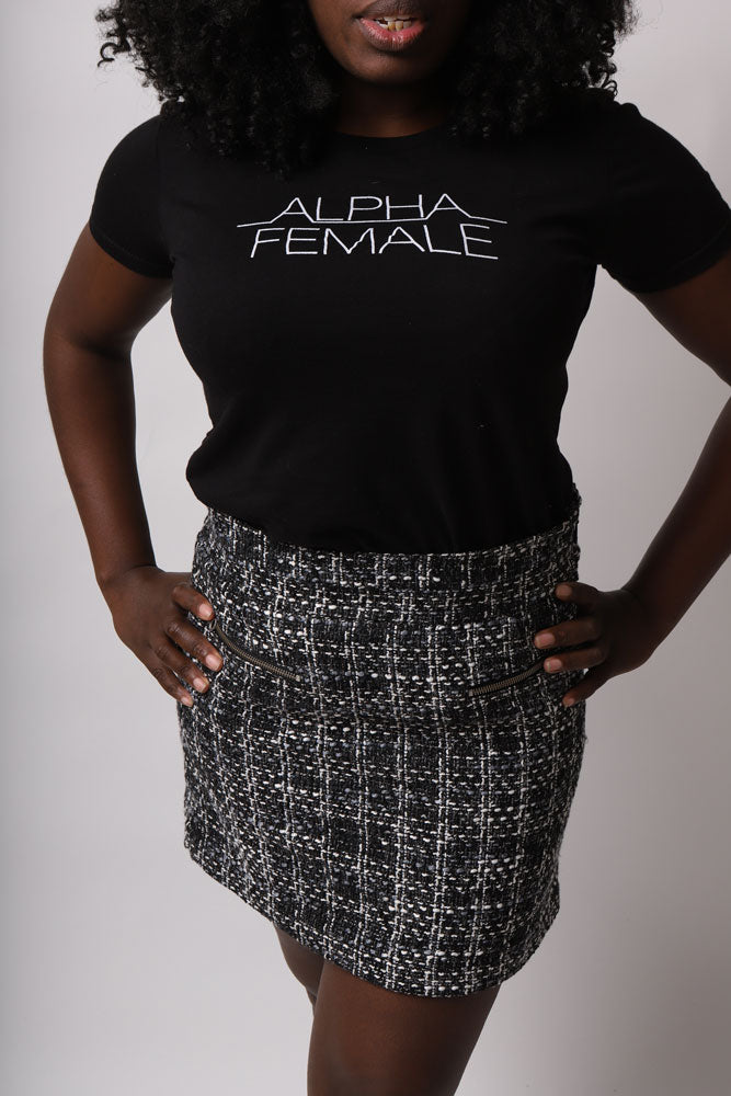 WOMEN WEARS ALPHA FEMALE T AND MALIA SKIRT IN GRYEY