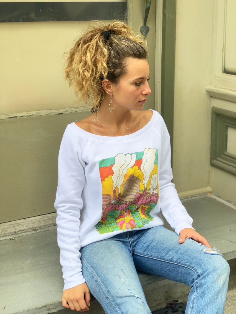 WOMEN LOOKS AWAY ON STOOP IN WHITE BROOKLYN INDUSTRIES MILTY SWEATSHIRT