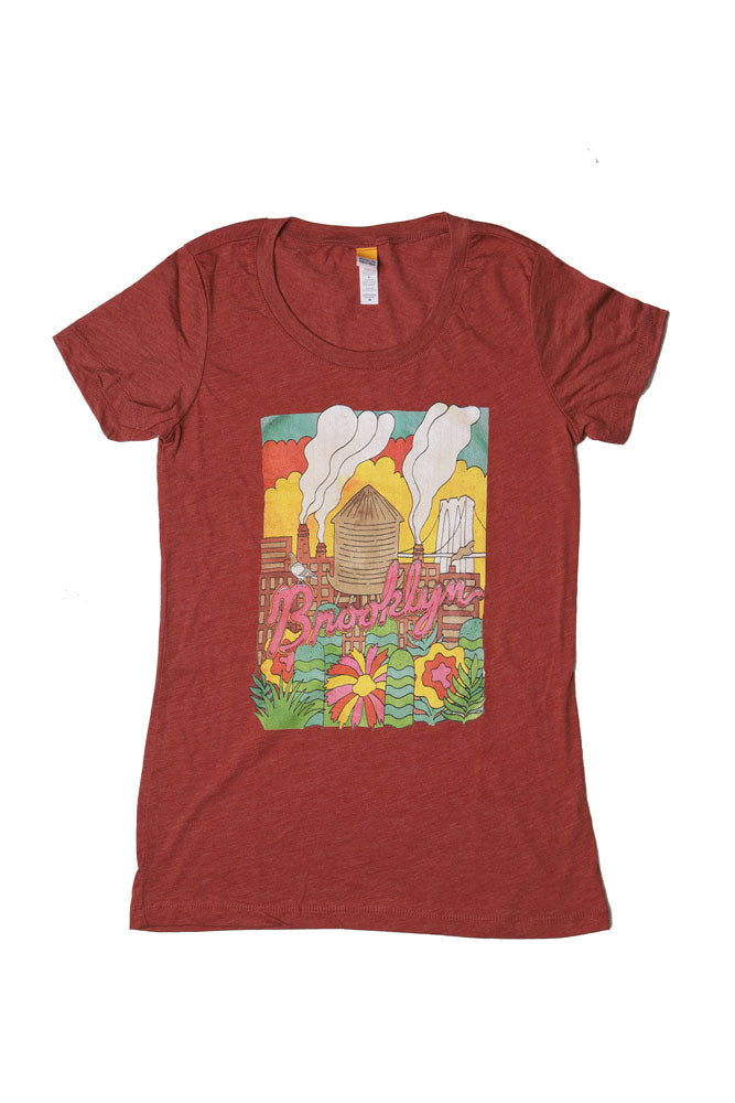 Clay colored t-shirt with Colorful Detail of Factory Scene Cartoon Like