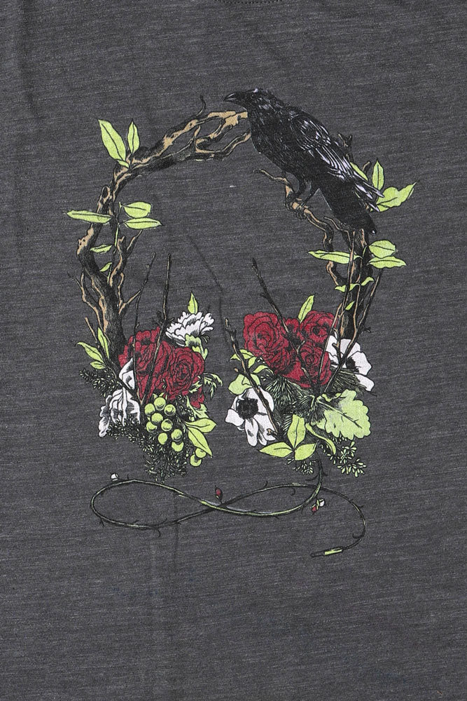 Wide Neck Asphalt Cropped Nature Sounds TShirt with Wreath Design, Florals and Bird on Chest,