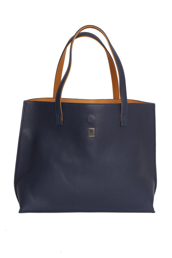 Vegan Pebble Tote bag in navy with toast lining