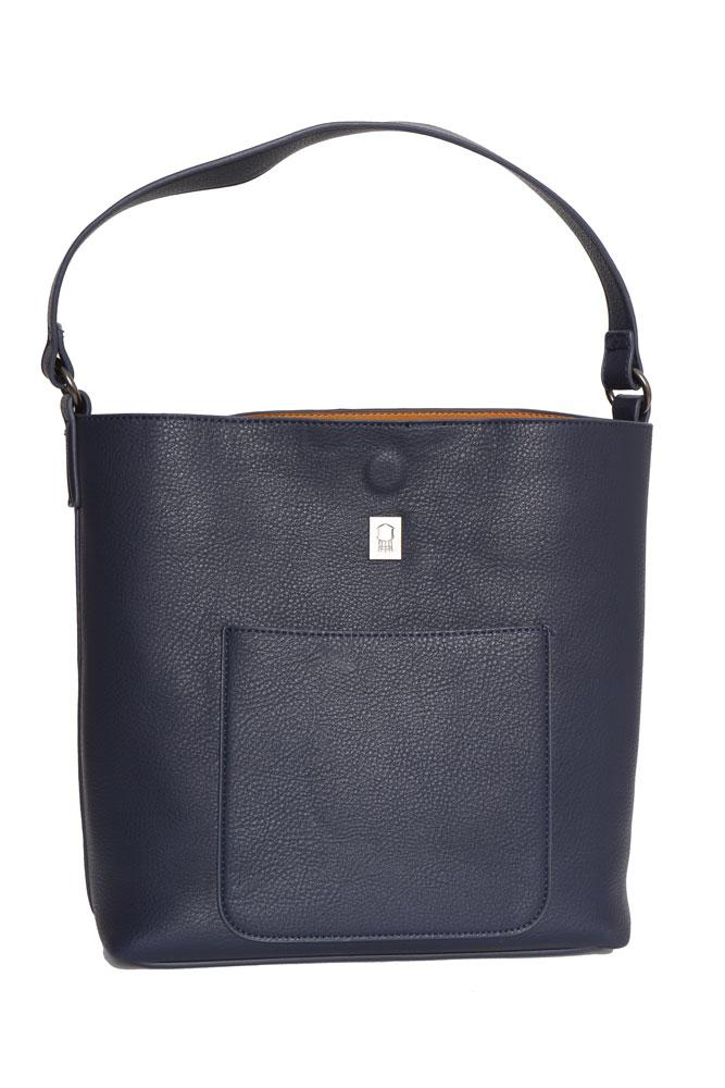 Vegan Pebble HOBO Bag in Navy with khaki lining