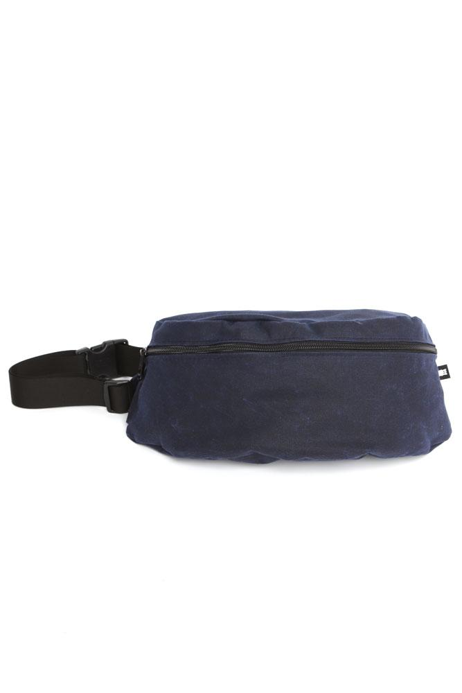 FRONT VIEW OF WAXED CANVAS FANNY PACK - NAVY