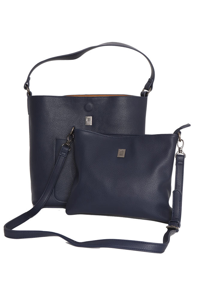 Navy vegan hobo style two piece bag. The large bag is lined in a toast color. The small big fits inside.