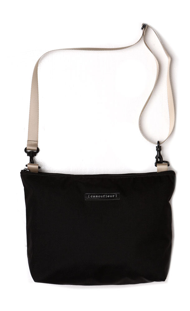 NO 8 CROSS BODY WITH KHAKI ADJUSTABLE STRAP ON BLACK BAG