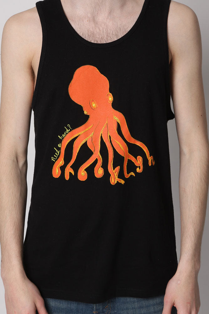 detail of Man in black tank top with orange octopus graphic