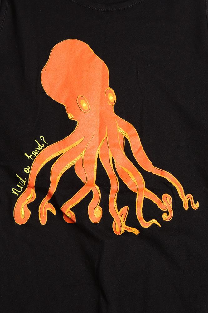 detail of men's black tank top with orange octopus graphic - Brooklyn spelt out in the tentacles