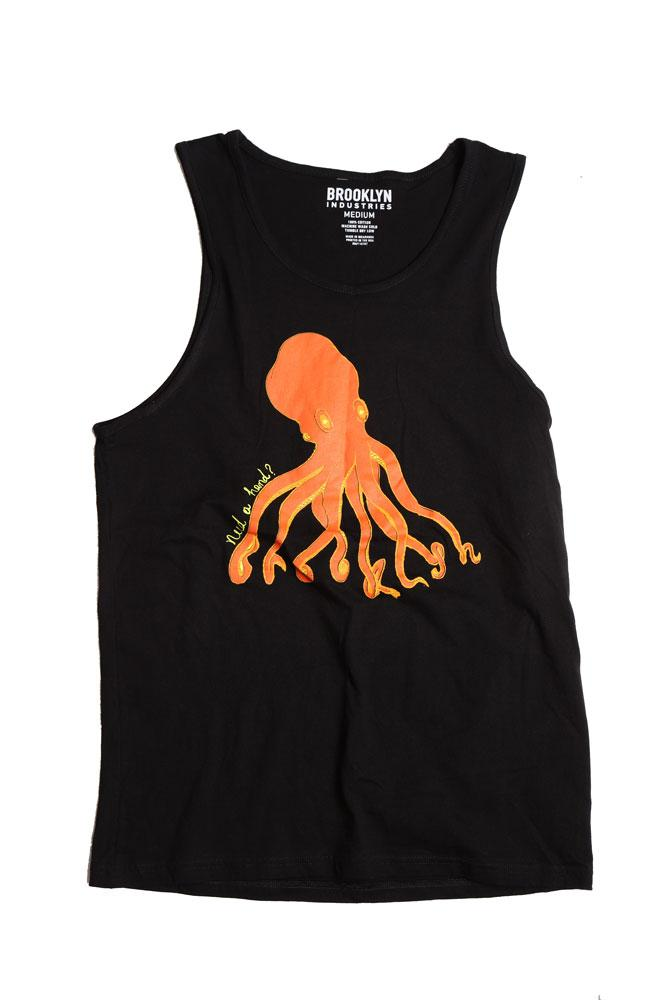 flat lay men's black tank top with orange octopus graphic